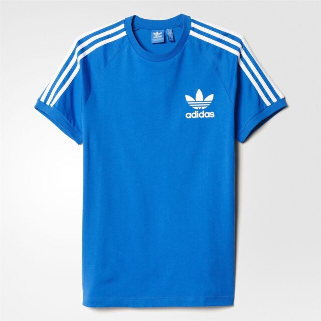 new york half off latest design adidas ORIGINALS CALIFORNIA T SHIRT MEN'S BLUEBIRD TEE 3 STRIPES WHITE  TREFOIL