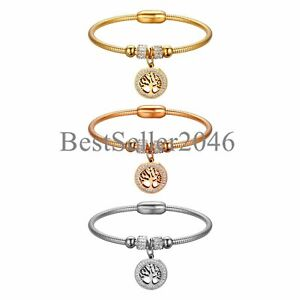 b3286279d034d Details about Women Crystal Beads Charm Tree of Life Magnetic Bracelet  Stainless Steel Chain