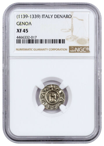 Republic of Genoa Silver Denaro NGC XF45 SKU45802 1139-1339 Italy