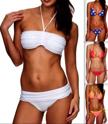 Da Donna Con Allacciatura Al Collo Bikini Push Up Set Top Pantaloni selezione colori PUSHUP TG XS S M L