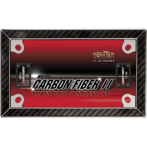 Cruiser Accessories MC License Plate Frame Carbon Fiber II Black Chrome 77198