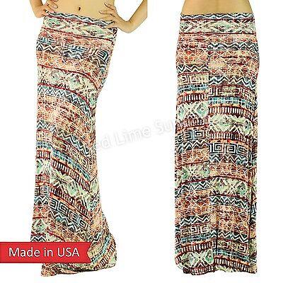 Rustic Geometric Zigzag Tribal Pattern Weathered Faded Print Long Maxi Skirt USA