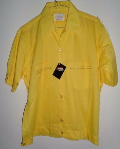 NOS ARROW 50's-60's SHIRT JAC Yellow +White Gold T