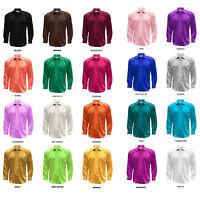 Men's Satin Shiny Dress Shirt Regular Fit, Tie & Hanky Set Many Solid Colors
