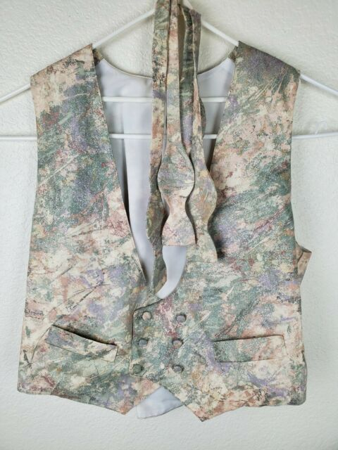 Camouflage Camo Wedding Formal Prom Tuxedo Vest & 2 Bow Ties XL Pink & Silver