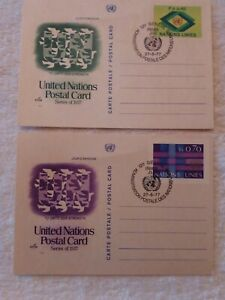 2-CARDS-UNITED-NATIONS-POSTAL-CARD-0-70-AND-0-40-PRINTED-STAMPS-FIRST-DAY-COVER