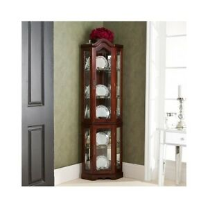 corner curio cabinet lighted china display case glass shelves mahogany finish ebay. Black Bedroom Furniture Sets. Home Design Ideas