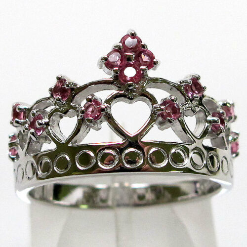 MAGNIFICENT PINK ROYAL CROWN 925 STERLING SILVER RING SIZE 5-10