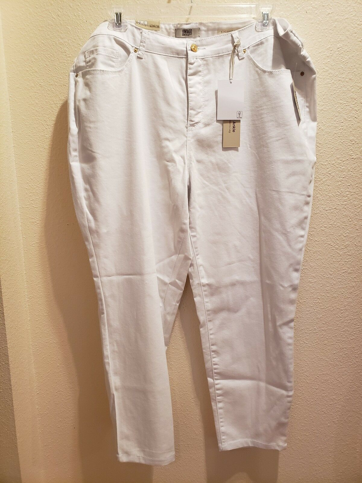 0fad9863b New VINTAGE AMERICA bluees Size White Ankle Length Jeans 22W ...
