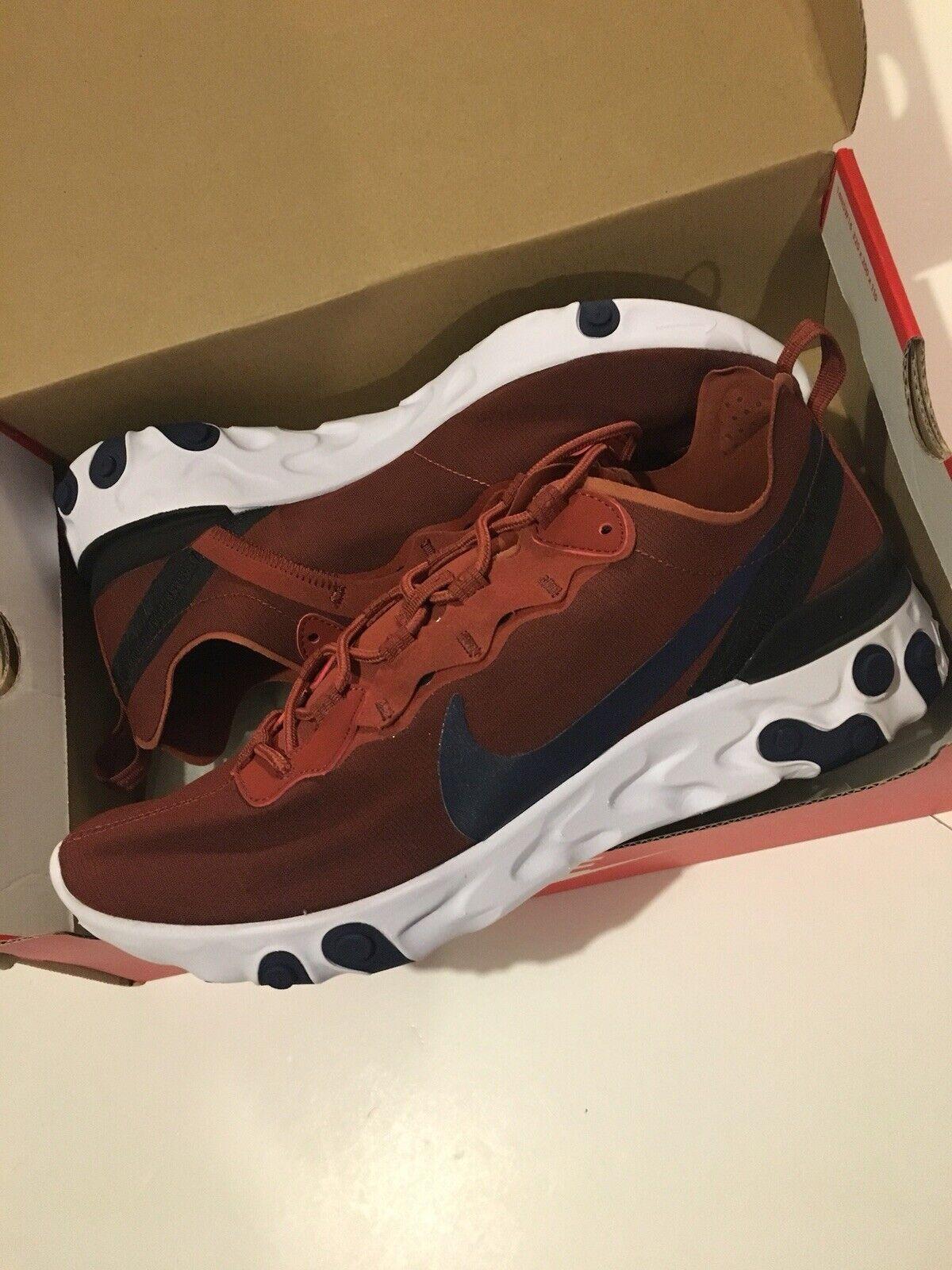 Nike React Element 55 Mars Pierre Entièrement neuf dans sa boîte (UK 6 us 7) rouge bordeaux bleu marine homme 87