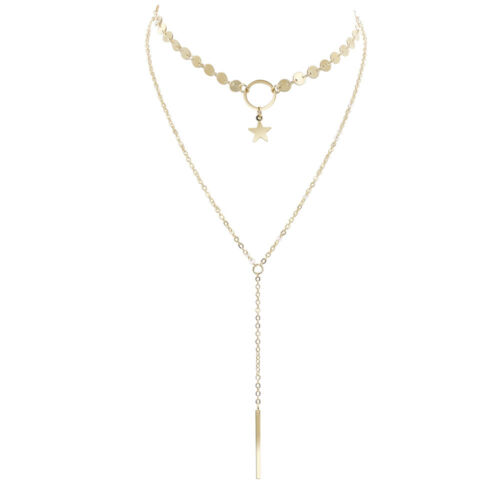 Womens Gold Star Choker Necklace Chain Pendant Charm Lariat Gift Present