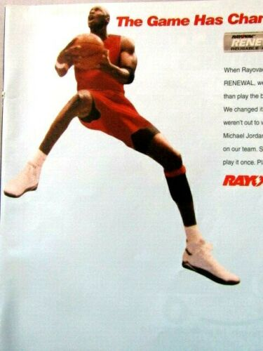 "Michael Jordan Chicago Bulls Rayovac 1995 Original Print Ad 8.5 x 11/"""