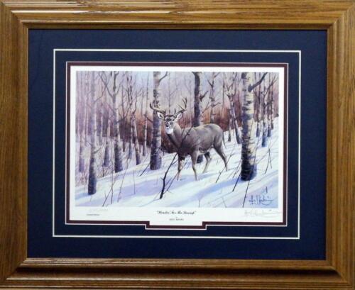 "Les Kouba /""Headin for the Swamp Deer Buck Print Signed//Numbered-Framed 21/"" x 17"