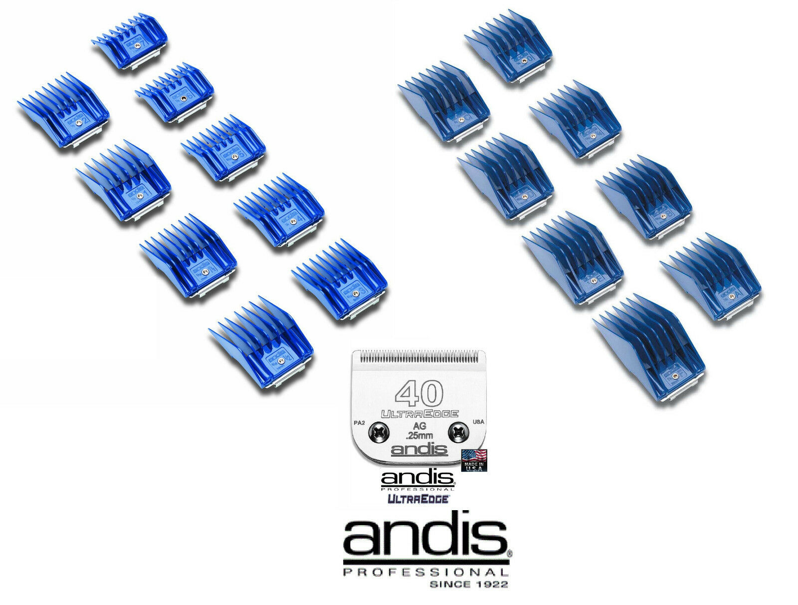 Andis AG BG CLIP ON GUIDE Attachment Combs 17pc set&40 UltraEdge Clipper Blade