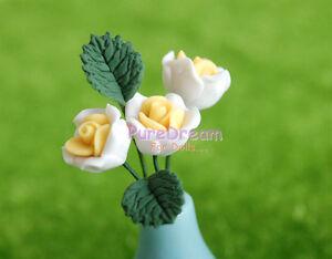 1//12 Dollhouse Miniature Clay Blue Rose lot of 6pcs Flower OP02907