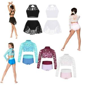 1ac9dbcce1 Image is loading Girls-Lyrical-Dance-Outfit-Lace-Crop-Top-Bottoms-