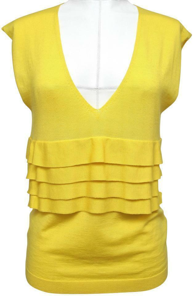 RED VALENTINO Knit Sweater Top Sleeveless Yellow Ruffle Wool