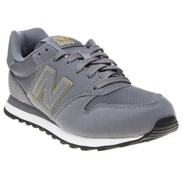 New Womens New Balance Grey 500 Synthetic Trainers Retro Lace Up