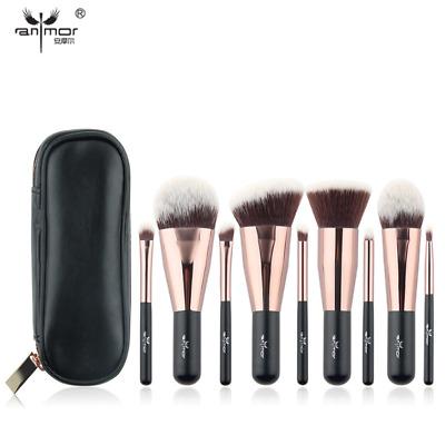 Travel 9 pcs Makeup Brush Set Synthetic Mini Makeup Brushes Case Rose Gold Black