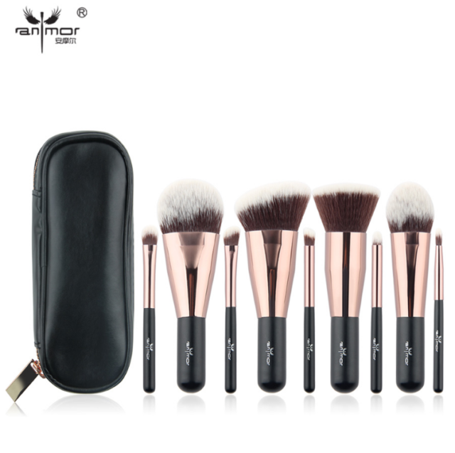 0ed1edb382e3 Travel 9 pcs Makeup Brush Set Synthetic Mini Makeup Brushes Case Rose Gold  Black