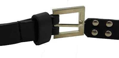 Women Girls Black Faux Leather 2cm Thin Studded Brushed Steel Belt Sizes S-XXL