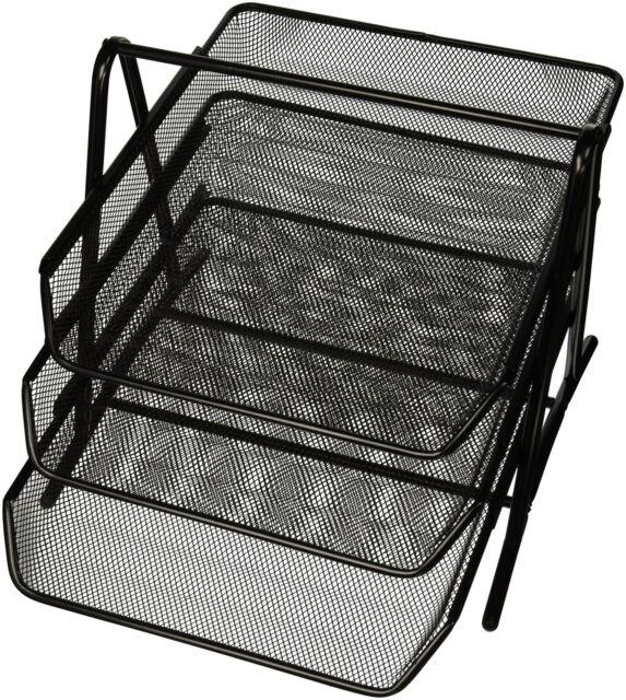 3 Tier Steel Mesh Desk Tray Office Organizer Storage Rack Holder Steel Black