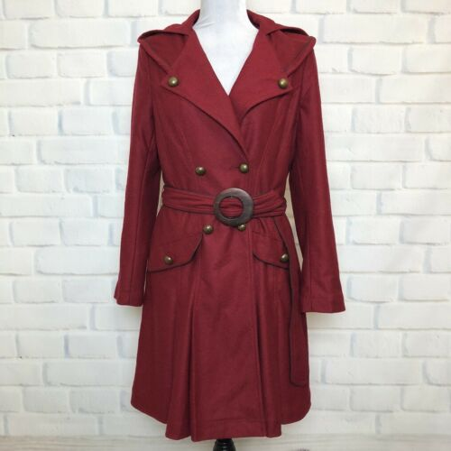 Soft Surroundings Crimson Red Belted Trench Coat P