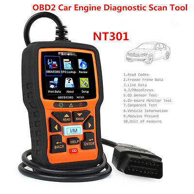 New NT301 Car OBD2 EOBD CAN Engine Fault Code Diagnostic Scanner Tool w/Hot Keys
