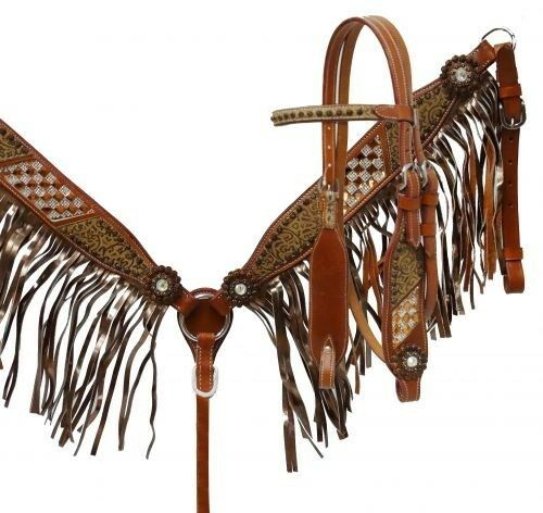 Showman Leather Bridle & Breast Collar Set w Marronee Filigree & Bronze Fringe NEW