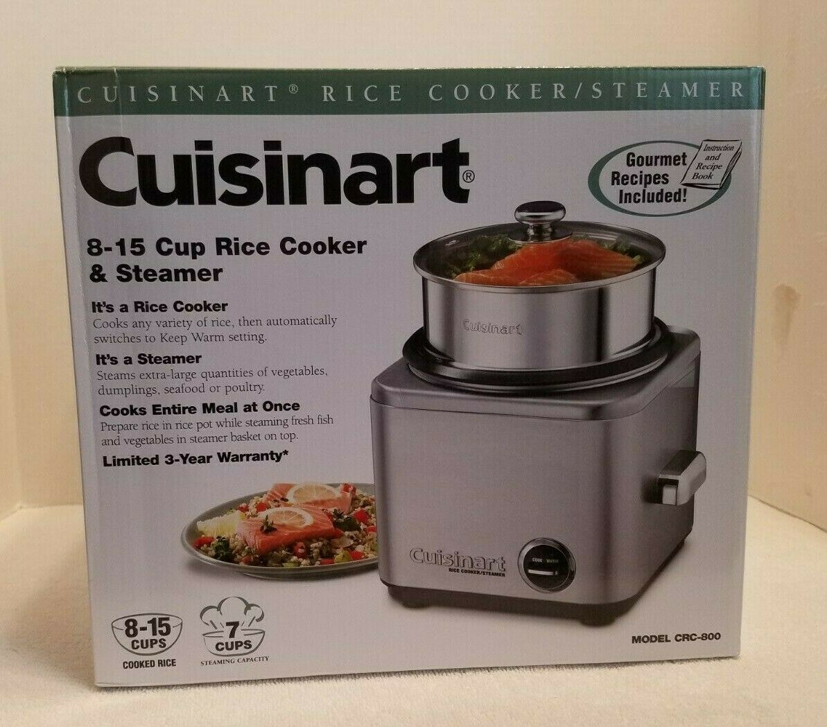 Nouveau Cuisinart CRC-800 8-Cup Cuiseur à riz cuiseur vapeur en acier inoxydable