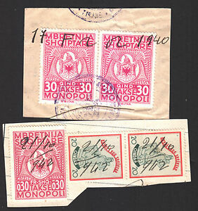 193..+194. Albania Revenue Stamps 2x30qind+0.30fr Shq Numerous In Variety