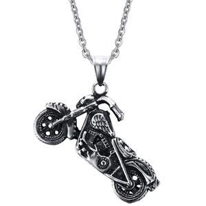 Totenkopf Motorrad Chopper detailliert Edelstahl Anhänger Halskette Harley Biker