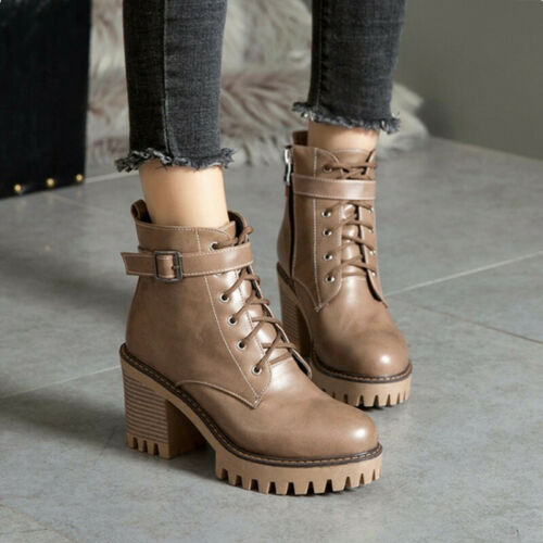Details about  /Womens Gothic Buckle Biker Ankle Boots Block Chunky Heel Lace Up Riding Boots Sz