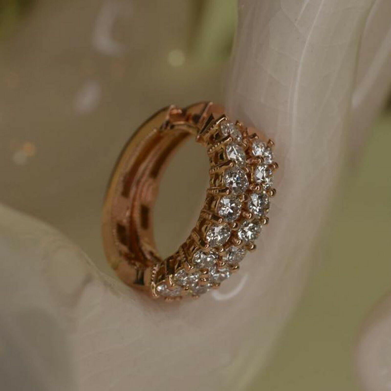 2eca5b6ab0d00 gold Yellow 14K Diamond Shape CT 0.40 Over Round Earrings Hoop Set ...