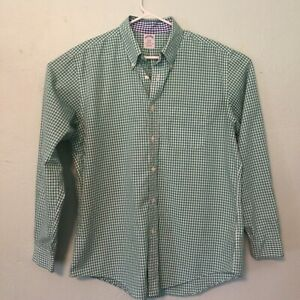 Brooks-Brothers-1818-Button-Down-Shirt-Green-White-Blue-Tartan-Plaid-Men-039-s-L