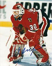 Signed  8x10 ED BELFOUR Chicago Blackhawks Autographed Photo - COA