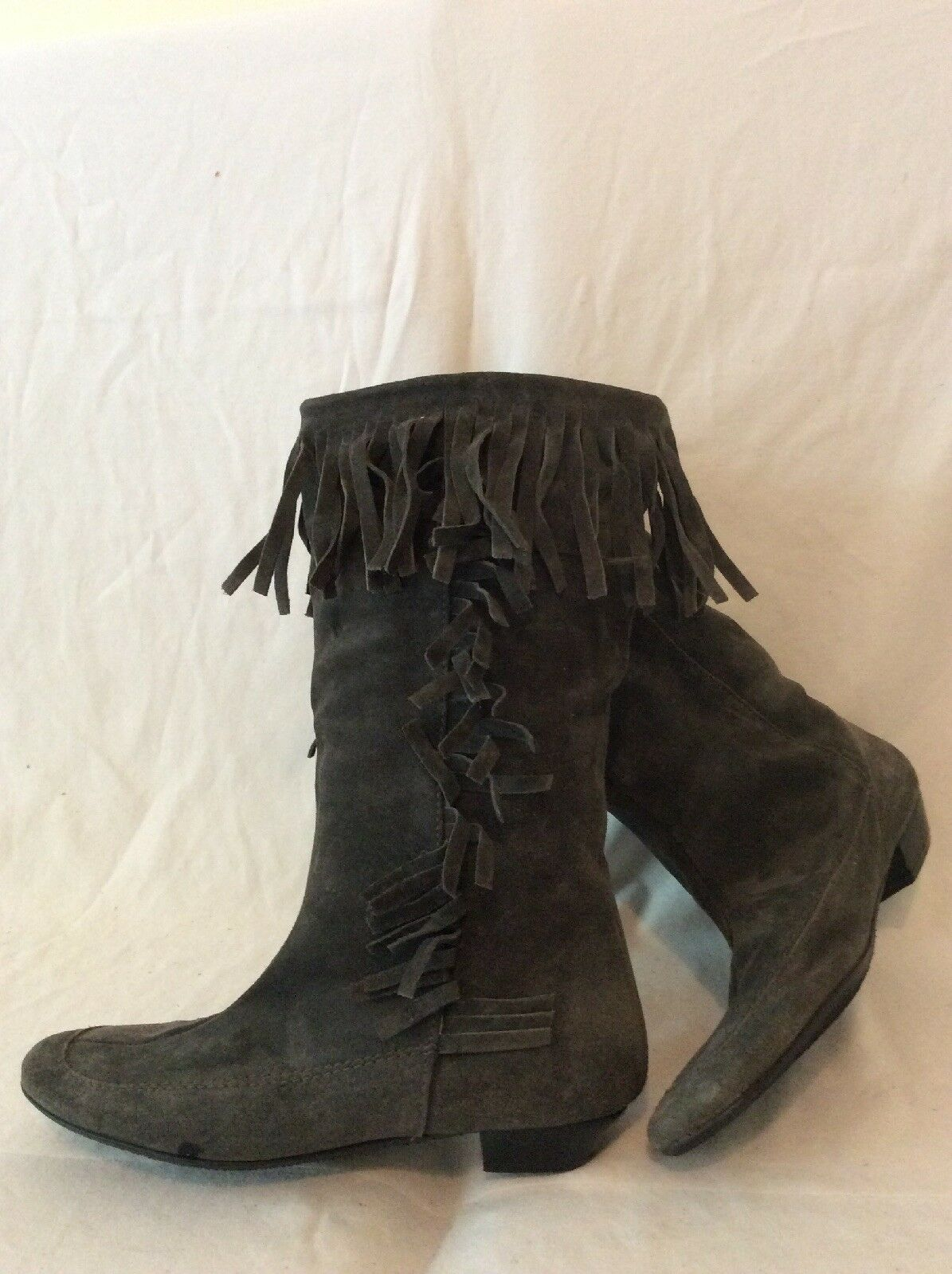 Dolcis Grey Mid Calf Suede Boots Size 41