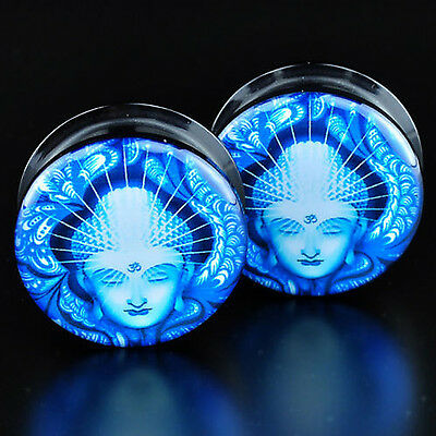 Pair Acrylic Blue Buddha Screwed Ear Flesh Tunnels Plugs Stretcher Gauges