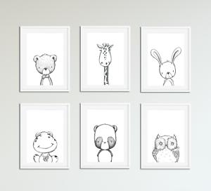 Neutre-Nursery-Decor-GRAVURES-Croquis-d-039-animaux-pour-enfants-Chambre-a-Coucher-Art