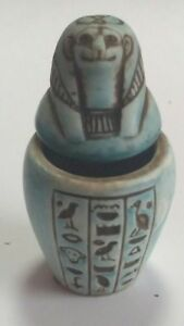 Canopic Jar Sekhment goddess of healing, Hand Carved Natural Stone 70mm 67g