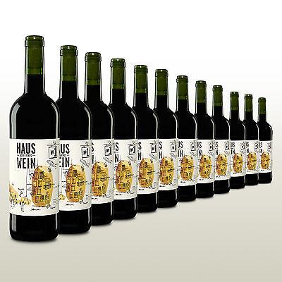12 Flaschen Hauswein, Rotwein aus Spanien, Tempranillo, trocken