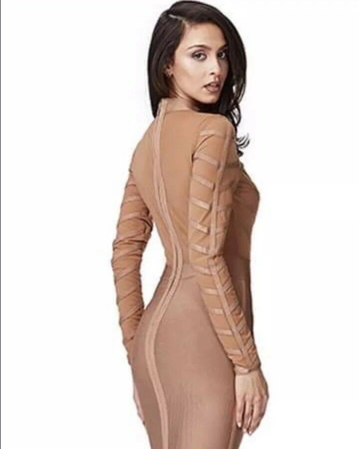 UK Womens Ladies party wedding prom Nude Beige Bodycon Dress size 12
