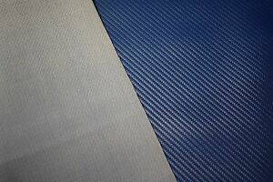 Vinyl Fabric Carbon Fiber Pacific Blue Faux Leather Car Upholstery