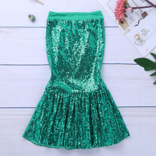 Girls Mermaid Tail Skirt Halloween Costume Fancy Cosplay Party Sequins Dress