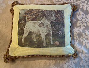 Jack-Russell-Dog-Throw-Pillow-Tapestry-Decorative-Tassel-Down-Filled-England-Sm