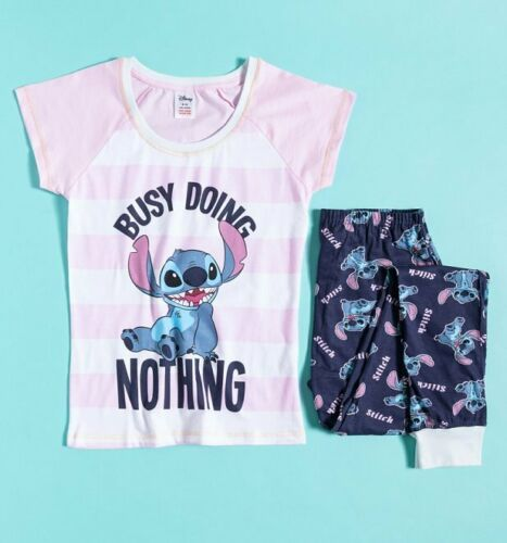 Official Women/'s Lilo And Stitch Busy Doing Nothing Disney Pyjamas