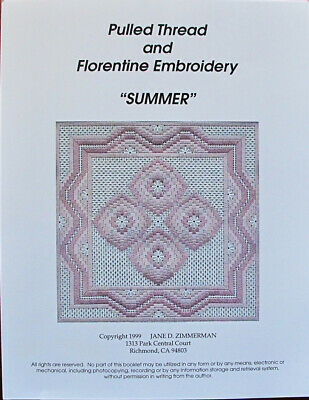 Fall Pulled Thread And Florentine Embroidery By Jane D Zimmerman Pulled Thread And Embroidery Pattern Chartpack 1999