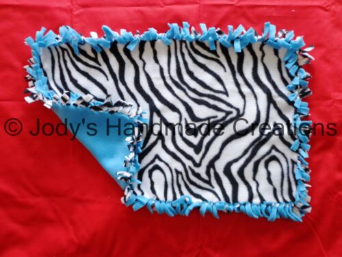 CHOICE OF ZEBRA COLORS 14 X 22 HANDMADE BABY MINI TIED FLEECE SECURITY BLANKET
