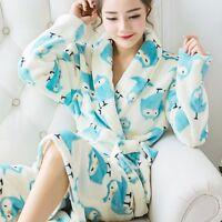 Women Warm Bathrobe Pajamas Fleece Sleepwear Night Soft Long Robe Dressing Gown