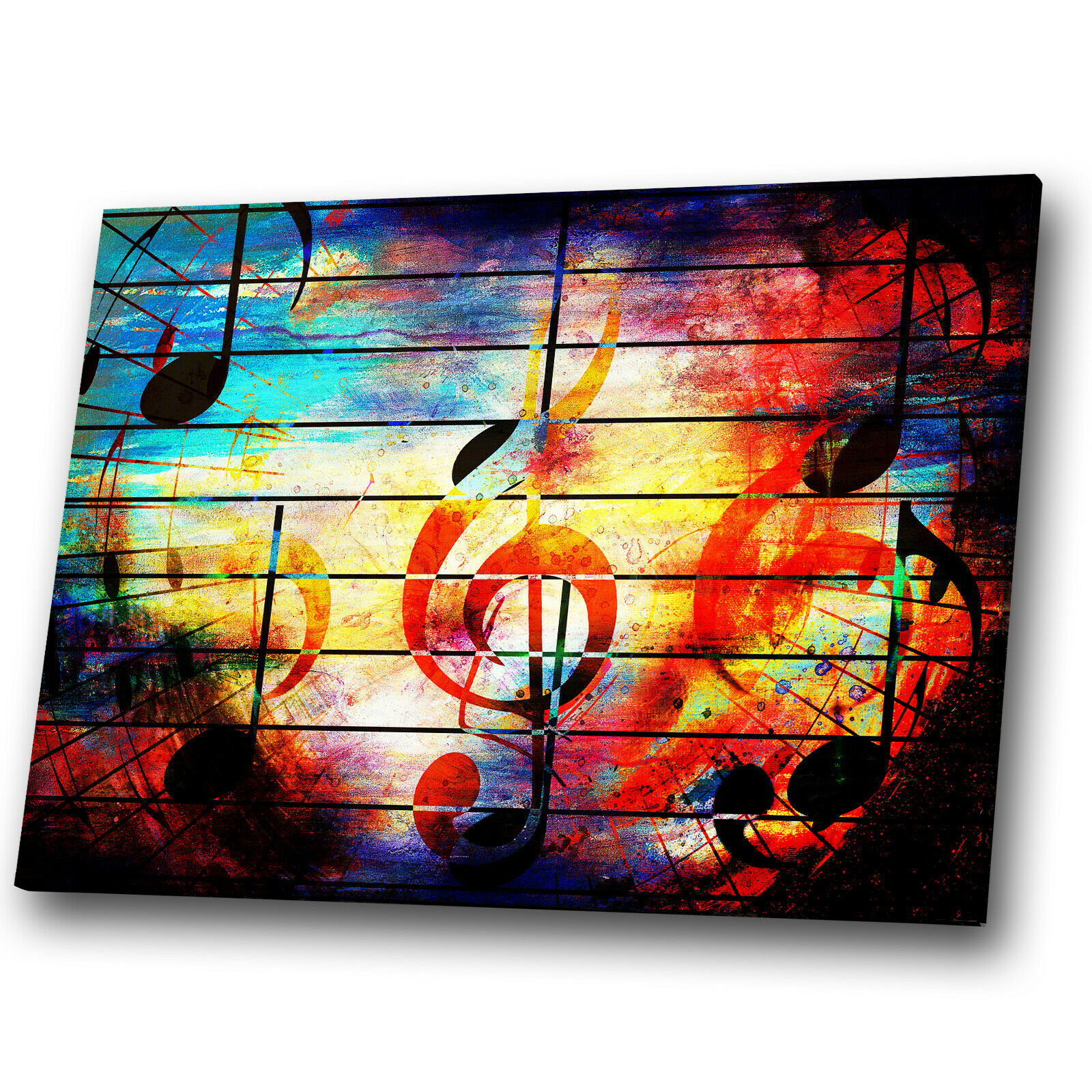 Colourful Music Notes Cool Abstract Canvas Wall Art Large Picture Prints